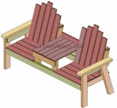 Buildeazy how to build a 2 seater bench with a center table Rustic Outdoor Furniture, Pallet Patio Furniture, Outdoor Chairs, Geek Furniture, Pallet Benches, Pallet Couch, Pallet Tables, Pallet Bar, Outdoor Pallet