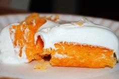 Orange Sherbet Cake:  1 box yellow cake mix; 12 oz Orange Crush; Frozen whipped topping---Pour soda into cake mix & whisk for 30 seconds. Bake according to directions. Cool. Top with whipped topping.  Use sugar free cake mix, diet crush & lite whipped topping to cut the calories by 50 per slice :)