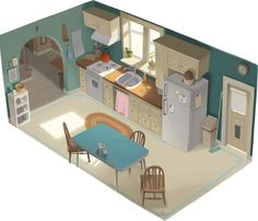 Got to find time to dip into some isometric work <3  toelle:    Kitchen by Willie Real