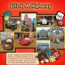 Life Is A Highway - MouseScrappers - Disney Scrapbooking Gallery Disney Scrapbook Pages, Scrapbook Albums, Scrapbooking Layouts, Scrapbook Cards, Vacation Scrapbook, Senior Year Scrapbook, Disney Cars Party, Car Party, Disney Magic Kingdom