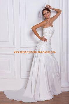 A-linie Schöne Glamouröse Brautkleider aus Taft mit Schleppe