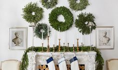 Alyssa put a fresh spin on classic mantel decorations by filling the wall with an array of wreaths in different sizes and types of greenery.