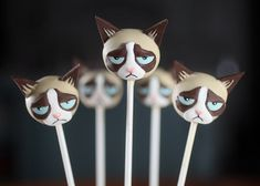 Unenthusiastic Grumpy Cat Cake Pops | Her naturally frowned face is all over the internet accompanying hilarious, albeit pessimistic, memes.