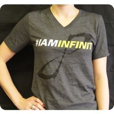 "MORE VIEWS NEW! INFINIT T-Shirt - Women's Lightweight, stylish V-neck T-Shirt featuring stylized infinity logo on front and ""One Drink."" on the lower back. Show people what fuels you! Cool Gear, V Neck T Shirt, Infinity, Drink, Logo, Stylish, Tees, People, Jackets"