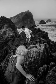 sunrise engagement photography adventure session in Point Reyes at McClures Beach black and white wedding photographer photos in the fog