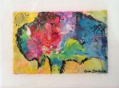 Buffalo Bison Painting Original Art by Caren Goodrich