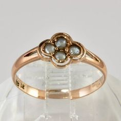 Victorian 14kt Rose Gold Ring Grey Pearls - Size 6.75