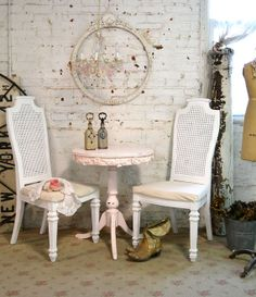 Painted Cottage Chic Shabby White Chair CHR75 by paintedcottages