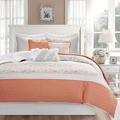 Coral Pink Paisley Coverlet Full Queen Set Coastal Shabby Chic Flower Textured Bedding Horizontal Stripe Floral Pattern Lightweight Airy Quilted Bedspread Decorative Pillows Cotton