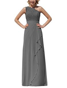ThaliaDress Chiffon Lace Long One Shoulder Bridesmaid Dress Evening Formal Gown T096LF Dark Gray US22W *** You can get additional details at the image link-affiliate link. #SweatersForWomen