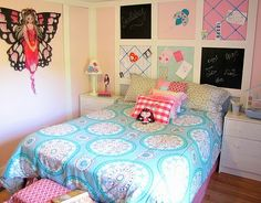 diy teen room.  not the style but love the back board ideas