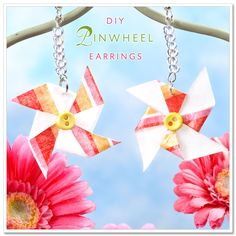 mod podge pinwheel earrings