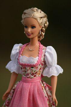Annabell - Bavarian Doll, wearing pretty pink Dirndl  (traditional dress worn in Germany – especially Bavaria )