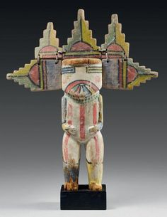 Kachina Shalako mana Hopi, Arizona, U.S.A Bois de cottonwood, pigment, cuir Période de confection proposée: circa 1910-1920