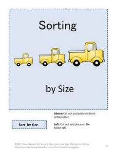 Wheels Go Round and Round File Folder Games for PK-K or Special Education- Children are fascinated with different vehicles from cars to trucks to school buses to bicycles. This packet contains 29 pages and makes 6 printable file folder games featuring a variety of vehicles.