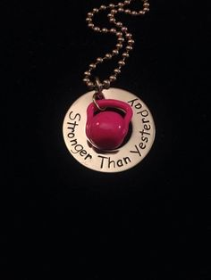 CrossFit Stronger than yesterday kettlebell by Getstampedjewelry, $10.00