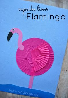 Make a Flamingo Kids Craft using pink cupcake liners. Great craft for learning about birds from iheartcraftythings.com.