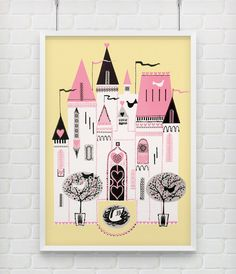 """Fairy Tale Castle - Vintage Nursery Kids Poster Print in 18x12"""" plus many other sizes. $24.99, via Etsy."""