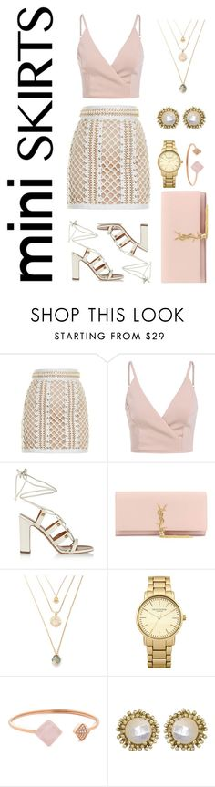 """#miniskirts"" by fashioncoolture ❤ liked on Polyvore featuring Balmain, Valentino, Yves Saint Laurent, Topshop, Michael Kors and Kendra Scott"