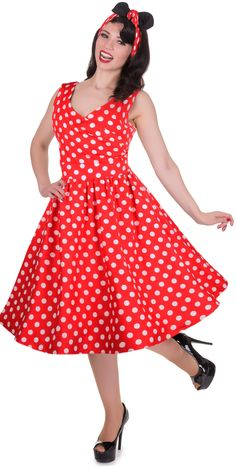 b50a4fe39fcbfe May V-neck 50 s Style Spot Dress in Red