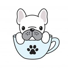 Dog Vector French Bulldog Coffee Cup Paw - Discover thousands of Premium vectors available in AI and EPS formats - Dog Illustration, Illustrations, French Bulldog Drawing, French Bulldog Cartoon, Dog Vector, Cute Animal Drawings, Cute Stickers, Pet Shop, Easy Drawings