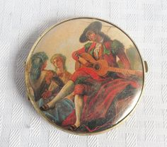 Clearance Vintage Compact Mirror With Renaissance Art Western Germany Renaissance Paintings, Renaissance Art, Vintage Makeup, Vintage Vanity, Powder Lipstick, Vanity Cases, Double Mirror, Compact Mirror, Cute Woman