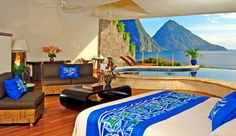 """Jade Mountain, St Lucia    """"MOON"""" Infinity Pool Sanctuaries  The infinity pool sanctuaries which are between 1600 - 1950 square feet in size with infinity pools averaging 650 square feet."""