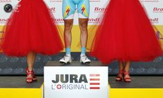 The legs of Astana Pro Team rider Kessiakoff of Sweden are seen on the podium after the eighth stage of the 99th Tour de France cycling race between Belfort and Porrentruy. BOGDAN CRISTEL/REUTERS