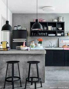 IMOB LAR SJC Negócios Imobiliários : Bancada de concreto na cozinha caiu nas graças