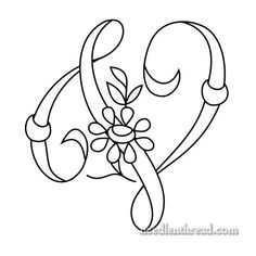 Monogram for Hand Embroidery: 'V' via the fabulous Mary Corbet