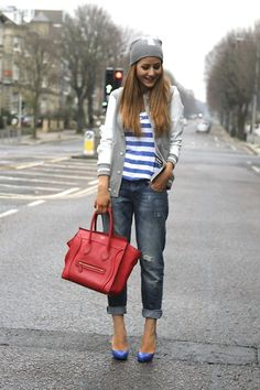 Varsity jacket and boyfriend jeans #riverislandstyle