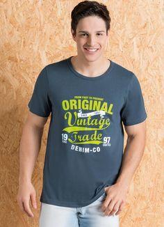 Camiseta Chumbo com Estampa Frontal - Posthaus