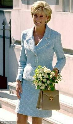 "9th Mar 1997: Princess Diana at William's confirmation. The Karl Lagerfield designed suit for the fashion house Chanel was one of her best and most iconic outfits. It was chosen from their Spring and Summer Couture line in 1997. The suit was bought off the peg and Diana wore it twice. She wore it March 9, 1997 to Prince William's confirmation and on 21 April that same year to the British Lung Foundation launch of a ""Princess of Wales Rose,"" named after her."
