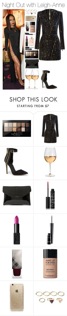 """Night Out with Leigh-Anne"" by xhoneymoonavenuex ❤ liked on Polyvore featuring Maybelline, Balmain, Bebe, Marc Blackwell, Givenchy, NARS Cosmetics, MAC Cosmetics, Burberry, MAKE UP FOR EVER and Rifle Paper Co"