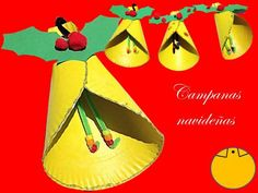 Cómo hacer una campana de Navidad con un plato desechable. #navidad #campana #manualidades #niños #platodeechable http://abt.cm/1PmbXcv