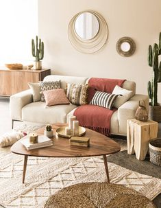 Boho living room featuring Berber rug, bamboo mirror, mid century coffee table, houseplants and neutral colours Room Design, Living Room Decor, Boho Living Room, Home Decor, Apartment Decor, Home Deco, Room Decor, Home Interior Design, Interior Design