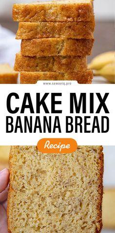 #Cake #MixBanana #BananaBread #Bread Cake Mix Banana Bread, Banana Bread Muffins, Gluten Free Banana Bread, Easy Banana Bread, Healthy Banana Bread, Chocolate Chip Banana Bread, Banana Bread Recipes, Yellow Cake Mixes, Nutella