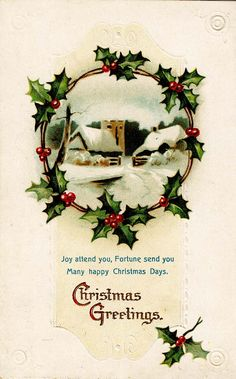 #Christmas #vintage #postcard #holly