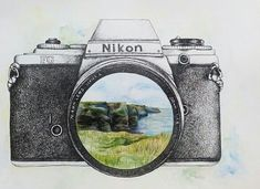 Pen&Ink/Watercolor Nikon camera (Cliffs of Moher, Ireland) - -You can find Nikon and more on our website.Pen&Ink/Watercolor Nikon camera (Cliffs of Moher, Ireland) - - Camera Drawing, Camera Art, Camera Painting, Camera Doodle, Amazing Drawings, Amazing Art, Kamera Tattoos, Art Sketches, Art Drawings