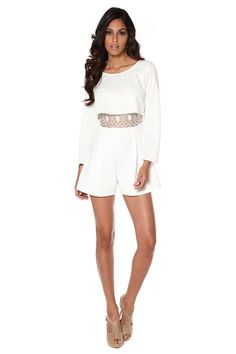 Buy Club L Crochet Overlay Playsuit Cream From K-Life. Your online shop for Tops & One-Peices