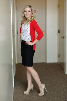 Red Cardigan, white with black polka dot blouse, black ponte pencil skirt Red Cardigan Outfits, Casual Outfits, Cute Outfits, Fashion Outfits, Work Outfits, Skirt Fashion, Outfit Work, Office Outfits, Black Pencil Skirt Outfit