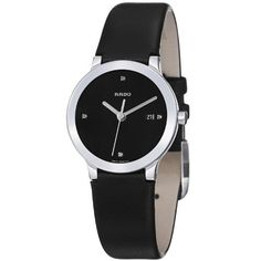 Rado Women's R30928715 Centrix Black Leather Strap Watch Rado. $744.99. Water-resistant to 30 M (99 feet). Stainless steel case. Black dial. Sapphire crystal. Quartz movement