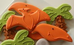 Pteranodon Cookies~                         By SweetSugarBelle, Orange, green Palm tree, dinosaurs