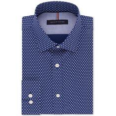 456f75d4bb Tommy Hilfiger Men s Slim-Fit Non-Iron Navy Print Dress Shirt (2.015 RUB