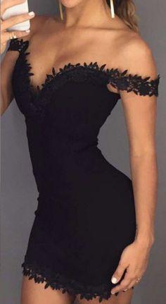 Off Shoulder Lace Trimmed Bodycon Dress - JayBela