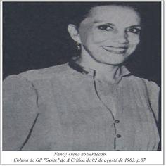 """Nancy Arena. Coluna do Gil """"Gente"""" do A Crítica de 02 de agosto de 1983."""