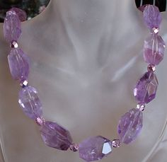 Purple Amethyst Nugget Necklace  Silver Coating Finish by camexinc, $50.00