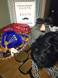 Photo booth props for spy birthday party