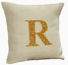 Personalized monogrammed throw pillow cover with beautiful customized letter made with gold sequins and beads. Details - INSERT NOT INCLUDED. This
