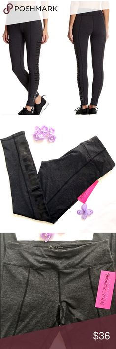 💜 Betsey Johnson Performance Leggings Gray Black NWT Betsey Johnson Performance Leggings in black grey kind of like a charcoal color.  Size M.  The words Give Love Get Love along the side of one leg in black letters. Betsey Johnson Pants Leggings